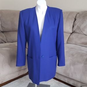 Vintage Oleg Cassini Size 10 Suit Coat Rich Blue